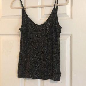 Black lightly knit tank top